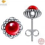 WYBEADS 100% 925 Sterling Silver January Birthday Blooms Stud Earrings For Women Fashion Earring Original <b>Jewelry</b> <b>Making</b>