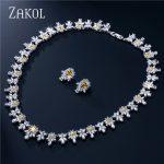 ZAKOL Top Quality Cubic Zircon Flower Shape <b>Jewelry</b> Sets Trendy Sliver Color Ladies <b>Jewelry</b> For Party Bijoux FSSP122
