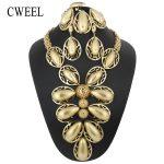 CWEEL Dubai <b>Jewelry</b> Sets For Women Indian Bridal African Beads <b>Jewelry</b> Set Flower Luxury Wedding Christmas Turkish <b>Jewelry</b>