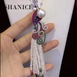 SHANICE Exquisite Colorful Crystal Peacock Brooch Pin Clear AAA CZ Luxury <b>Jewelry</b> <b>Accessory</b> Pearl Component Connector