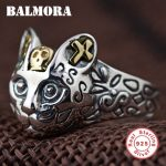 BALMORA 100% Real 925 Sterling Silver Cute Cat Finger Rings for Women Men Party Gifts Resizable Animal Ring <b>Jewelry</b> SY20568