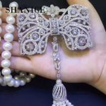 SHANICE Big Bow DIY Women Luxury Pearls Necklace <b>Making</b> Findings Supplies Paved Zircon Connector Suspension Pendants Accessories