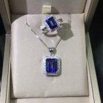 Newest 100% 925 <b>Sterling</b> <b>Silver</b> Pendant Rectangle cut Natural Tanzanite Topaz Pendant Women <b>jewelry</b> Christmas gift without Chain