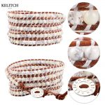 KELITCH Bracelets <b>Jewelry</b> Natural White Stone Crystal Beads Bracelet Multilayers Leather Chain Bracelet <b>Handmade</b> 5 Wrap Bracelet
