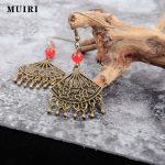 2017 Fashion Boho fan design Drop Earrings For Women <b>Jewelry</b> Brinco Carved Vintage <b>Antique</b> Bronze Bohemian tassels Earrings
