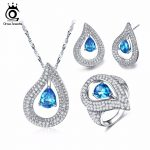 ORSA JEWELS <b>Silver</b> Color Heart Shape Pendant <b>Necklace</b> Ring Earings Fashion Jewelry Sets with Osean Bule Cubic Zirconia OS102