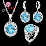 GIEMI Top Grade Wedding Jewelry for Bridal 925 Sterling <b>Silver</b> Blue Crystal Zircon Earrings+ Ring+<b>Necklace</b> Bridal Jewelry Sets