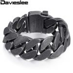 Davieslee Mens Chain 316L Stainless Steel Heavy Bracelet Gunmetal Tone Big Curb Link Wholesale <b>Jewelry</b> 24mm LHB333