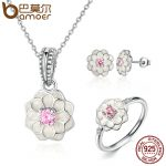 BAMOER Genuine 100% 925 Sterling <b>Silver</b> <b>Jewelry</b> Set White Flower Pink Clear CZ <b>Jewelry</b> Sets Wedding Engagement <b>Jewelry</b> ZHS036