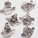Tibetan Style Alloy Ring Toggle Clasp Sets, Lead Free, <b>Antique</b> Silver, 15~25×11.5~16mm, Tbar: 16~25mm, Hole: 1.5~2.5mm,