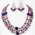 Newly Purple necklace 3rows earrings round shell simulated-pearl oval crystal beads special <b>making</b> <b>jewelry</b> set 18-22″ B998