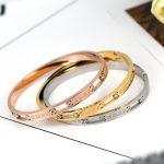 YUN RUO <b>Fashion</b> Brand <b>Jewelry</b> Gold Silver Color Stylish Men/Women Stainless Steel Bangles Roman Numerals Bracelet Never Fade