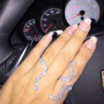 Hot sale Luxury AAA cubic zirconia novel small flower 3 finger ring ,stunning <b>jewelry</b> <b>accessories</b>, R1260