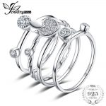 JewelryPalace Heart Love Anniversary Engagement Wedding Band 4 Ring Sets Real 925 Sterling <b>Silver</b> <b>Jewelry</b> Gift for Mother's Day