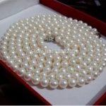 Hot 8mm White Glass round beads long necklace 48 inch wholesale Women fashion <b>jewelry</b> <b>making</b> design
