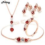 MoBuy Natural Gemstone 4pcs Red Garnet Jewelry Sets 100% 925 Sterling <b>Silver</b> For Women Wedding Classic Fine Jewelry V041EHNR
