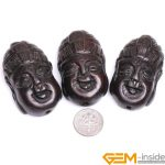 30x49mm Big Hole 1.2mm Black Wood Buddha Head Carved Beads For <b>Jewelry</b> <b>Making</b> Bulk 3 Pcs For Gift Wholesale