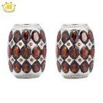 Hutang Stone Jewelry Natural Garnet Soild 925 Sterling <b>Silver</b> <b>Earrings</b> Women's Gemstone Fine Fashion Jewelry Black Friday Gift