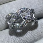 Luxury Corss <b>Jewelry</b> 925 Sterling Silver ring Pave setting 5A zircon Stone Engagement <b>Wedding</b> Band Rings for women Bridal Gift