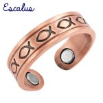 Escalus Ladies <b>Antique</b> Copper Trendy Fish Pattern Magnetic Women Ring Resizable Female Magnets <b>Jewelry</b> Charm Finger Wear
