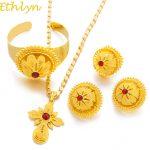 Ethlyn Red Stone Big Ethiopian Gold Color Women <b>Jewelry</b> Sets With Ethiopian <b>Handmade</b> Chain <b>Jewelry</b> Sets Eritrea Items S182