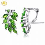 Hutang Stone <b>Jewelry</b> 3.0Ct Natural Chrome Diopside Solid 925 <b>Sterling</b> <b>Silver</b> Leaf Earrings Fine <b>Jewelry</b> Vivid Green Gemstone New