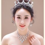 Noble Crystal Bridal Hotsale <b>Silver</b> Fashion Wedding <b>Jewelry</b> Tiara Necklace Earrings For Brides Bridesmaids