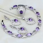 Purple Cubic Zirconia White Crystal 925 Sterling <b>Silver</b> Jewelry Sets For Women Wedding Earrings/Pendant/Necklace/<b>Bracelet</b>/Ring