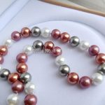 Hot new fashion 12mm Multicolor South Sea Shell Pearl Necklace Fashion <b>Jewelry</b> <b>Making</b> Design Gifts For Girl Women 34″ W0388