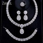 ZAKOL Luxury Zircon Bridal Wedding <b>Jewelry</b> Sets Exquisite Zirconia Necklace/ Earrings/ Ring/ Bracelet Full Set For Women FSSP312