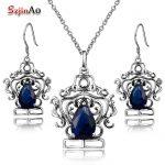 Szjinao Princess Crown <b>Jewelry</b> Sets Retro Earrings/Pendant Costume Blue Stone Crystal <b>Jewelry</b> Sets 925 <b>Sterling</b> <b>Silver</b> Parure
