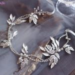 Jonnafe Bridal Silver Leaf Tiara Headband Rhinestone Wedding Hair Vine Accessories Women Pearl Hair Piece <b>Jewelry</b> Crown