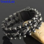 TrustyLan Masculine Genuine Leather <b>Jewelry</b> <b>Handmade</b> Man Bracelet With Skulls For Rock Retro Party Gift For Gentlemen Dropship