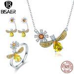 BISAER 925 Sterling <b>Silver</b> Waterdrop Yellow CZ Stone Popular Bees Wish Jewelry Set for Women Dazzling Luxury <b>Silver</b> Jewelry