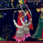 Original India Arabia <b>handmade</b> Ancient Silver Birdcage Earrings BOHO Wind Pink Beads Circle DIY Big Earrings Sweet Retro <b>Jewelry</b>