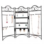 Earrings <b>Necklace</b> Bracelet Eyeglasses Chain Alloy <b>Jewelry</b> Display Organizer Storage Holder Shelf – Black