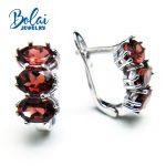 Bolaijewelry,2018 new natural red garnet oval 5*7 cut 3ct gemstone clasp <b>earring</b> 925 sterling <b>silver</b> fine jewelry women