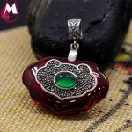 34*22 Big Gemstone <b>Jewelry</b> Top Quality Green Agate Red Jade Necklace Pendant Women 925 <b>Sterling</b> <b>Silver</b> Pendant Best Gifts SP72