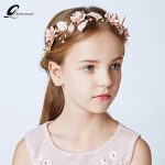 QUEENCO Pink Crystal <b>Wedding</b> Hair Accessories Pearl Headband Flower Bridal Headbands Girl Kids Party Vacation Hair <b>Jewelry</b>