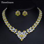 ThreeGraces Marquise Design Nigerian African Wedding <b>Jewelry</b> Sparking Yellow CZ Stone Statement <b>Necklace</b> Set For Women JS189