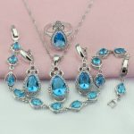 WPAITKYS Trendy Light Blue Cubic Zirconia <b>Silver</b> Color Jewelry Sets For Women Drop Earrings <b>Bracelet</b> Necklace Ring Free Gift Box
