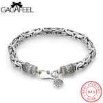 GAGAFEEL Thai <b>Silver</b> Bracelet Real 925 <b>Sterling</b> <b>Silver</b> <b>Jewelry</b> Men's Bracelets Safe Pattern Chain Round Tags For Male Boyfriend