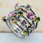 Peridot Pink Crystal Zircon Purple Crystal Zircon Morganite 925 Sterling Silver <b>Jewelry</b> wedding Ring Size 6 7 8 9 10 F1132