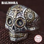 BALMORA 100% Real 925 Sterling Silver Vintage Rings for Women Men Lovers Punk <b>Fashion</b> Cool <b>Jewelry</b> Skull Ring Bijoux SY20540
