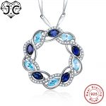 J.C Girl Sapphire Blue Topaz Necklace Solid Real 100% 925 <b>Sterling</b> <b>Silver</b> Necklace Fine <b>Jewelry</b> for Women Wonderful Pendant