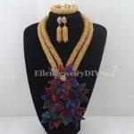 Crystal Flower <b>handmade</b> african beads <b>jewelry</b> set Multi color nigerian wedding beads <b>jewelry</b> set W12899