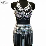Chran Irridescent Crop Top EDM Chain Rave Mini Skirt Harness <b>Necklace</b> Beach Bra Bralette Bikini Dress Party Festival <b>Jewelry</b>