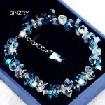 SINZRY pure handmade Luxury 925 sterling <b>silver</b> Trendy brilliant heart crystal charm <b>bracelets</b> & bangle Girl jewellery