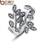 BAMOER 925 Sterling Silver Sparkling LEAVES SILVER RING WITH CUBIC ZIRCONIA for Women Original <b>Jewelry</b> PA7114