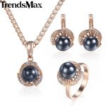 Trendsmax Black Pearl <b>Jewelry</b> Set For Women Earrings Ring 585 Rose Gold Pendant Necklace Womens <b>Fashion</b> Gifts <b>Jewelry</b> KGE120